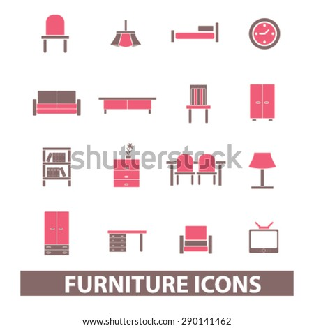 furniture, table, desk, chair, cupboard, sofa, tv isolated icons, signs, illustrations, vector for internet, website, mobile application on white background - stock vector