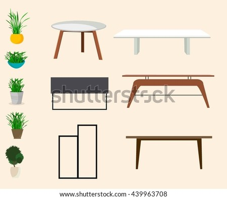 Tables With Plants On Beige Background.