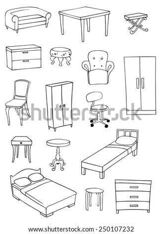 furniture vector background set on white background - stock vector