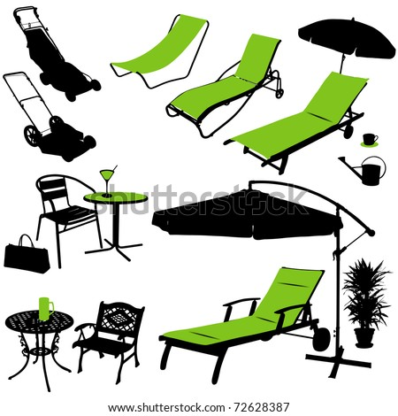 furniture vector silhouettes - stock vector
