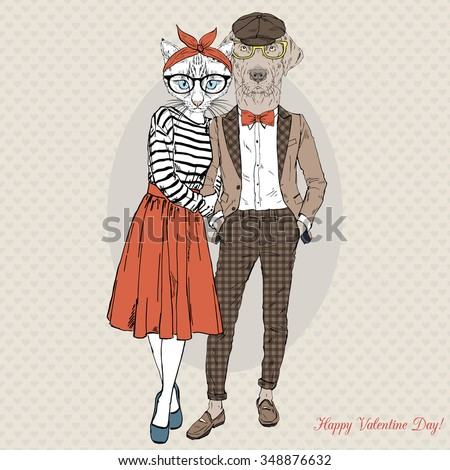 furry art illustration of hipsters cat and dog fashion couple, Valentine Day design - stock vector