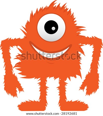 Furry Fuzzy Hairy Orange One Eyed Monster - stock vector