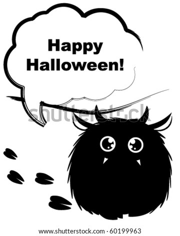 Furry monster wishing you happy Halloween - stock vector