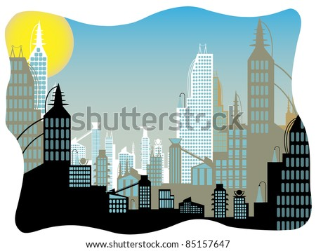 Future city daytime abstract border - stock vector