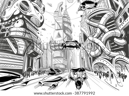 Future city hand drawn sketch. Vector illustration