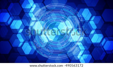 future technology, blue cyber security concept background, abstract hi speed digital internet.