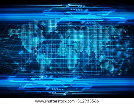 future technology, blue world cyber security concept background, abstract hi speed digital internet.motion move speed blur. pixel vector