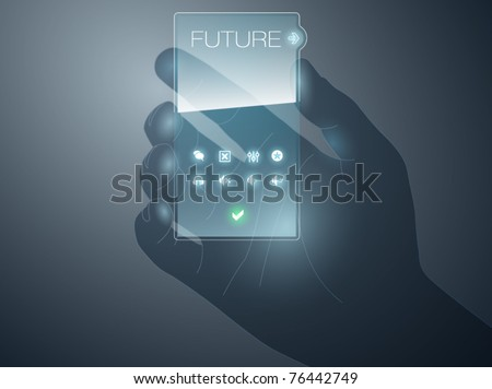 Futurisric mobile device vector with transparency effect - stock vector