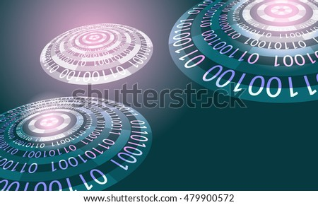 Futuristic abstract background with the words big data and transparent circles