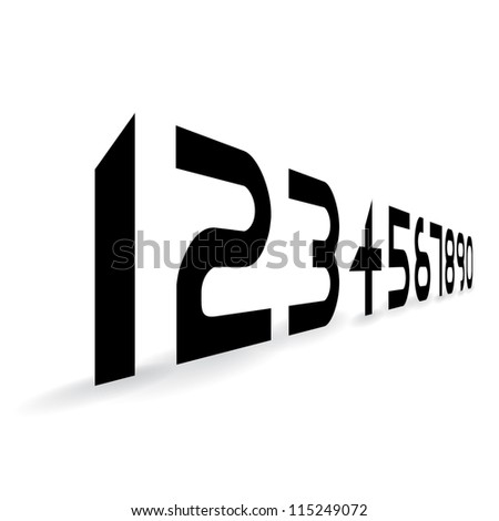 futuristic alphabet font numbers- illustration - stock vector