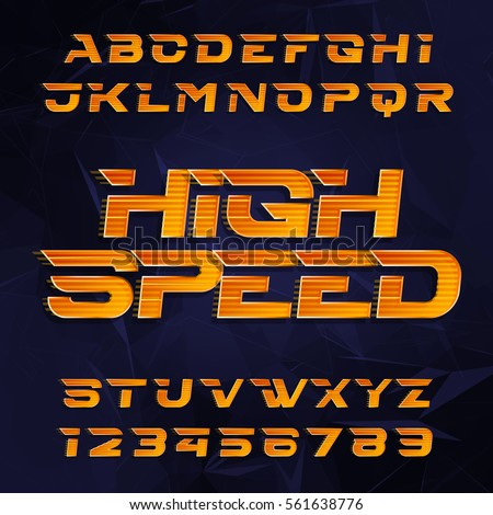 Futuristic alphabet vector font. High speed effect type letters and numbers on a dark polygonal background. Vector typeface for your design.