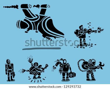 futuristic army set - stock vector