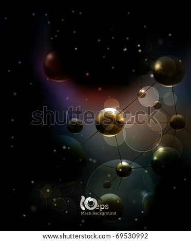 Futuristic background with molecules black, eps10 - stock vector
