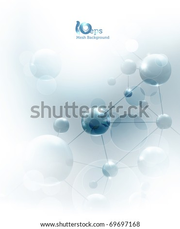 Futuristic background with molecules blue, eps10 - stock vector