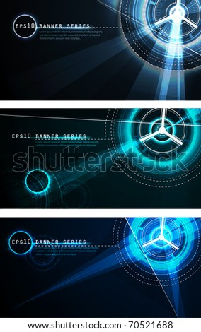 Futuristic Banner Set | Vector Science Fiction Series - stock vector