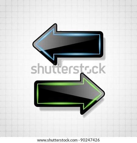 Futuristic black glossy arrows - stock vector