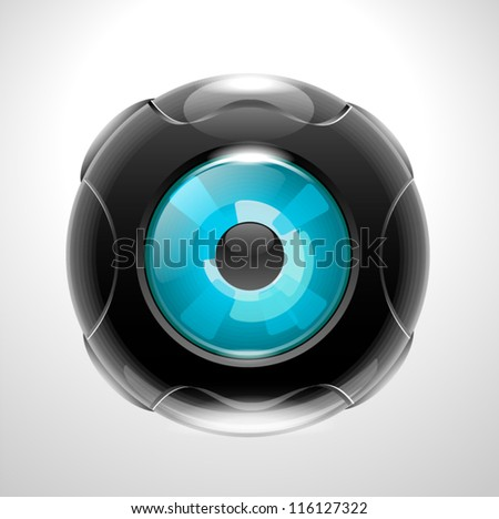 Futuristic camera photo lens, eye blue. - stock vector