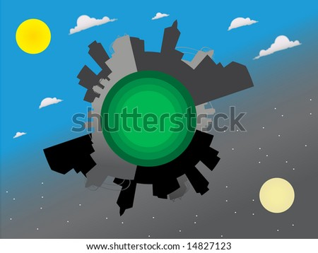 Futuristic city around the world Global View - Vector - stock vector