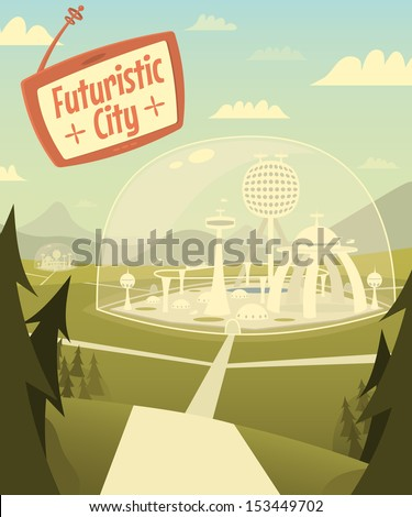 Futuristic city. Vector illustration. - stock vector