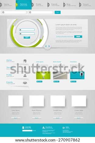 Futuristic Clean Website Template. Vector illustration. - stock vector