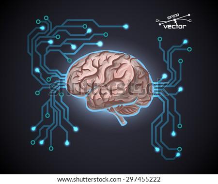 Futuristic computer brain - stock vector