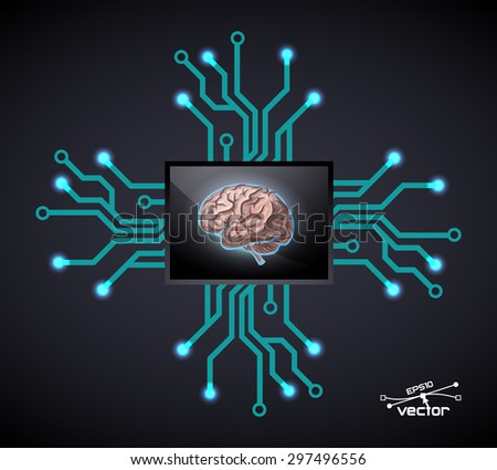 Futuristic computer brain, vector illustration for your design, 6 editable layers eps 10  - stock vector