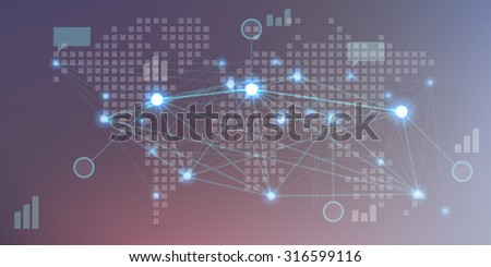 Futuristic dark background with elements of user interface HUD on world map. Vector illustration. - stock vector