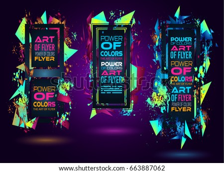 futuristic frame art design abstract shapes stock vector 663887062