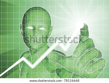 Futuristic green figure tracing upwards trend on graph. - stock vector