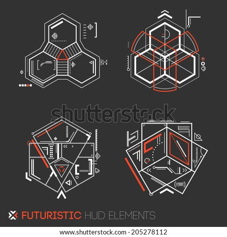 Futuristic HUD elements - stock vector