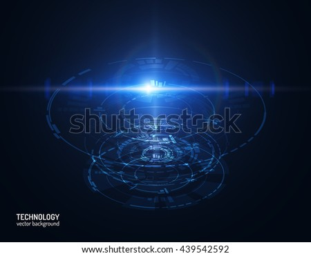 Futuristic hud interface. Shiny technology shapes can be used for science presentations. Vector eps10. - stock vector