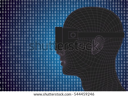 futuristic human head wearing vr headset over a binary code background. Vector illustration