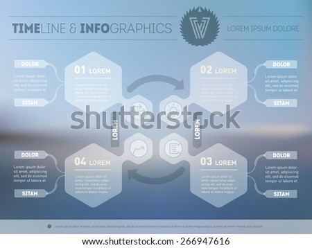 Futuristic interface concept on blurred background. Vector infographic of technology process. - stock vector