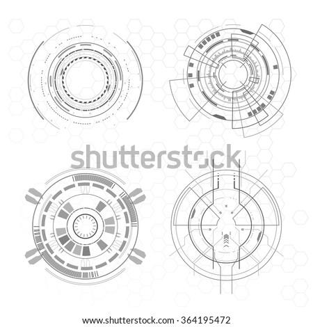 Futuristic interface elements - stock vector
