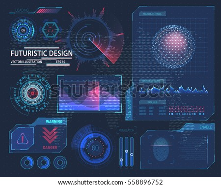Futuristic interface hud design, infographic elements like scanning graph or waves, warning arrow and bar regulator, fingerprint or dactylogram pass, molecule hologram.Tech and science, analysis theme