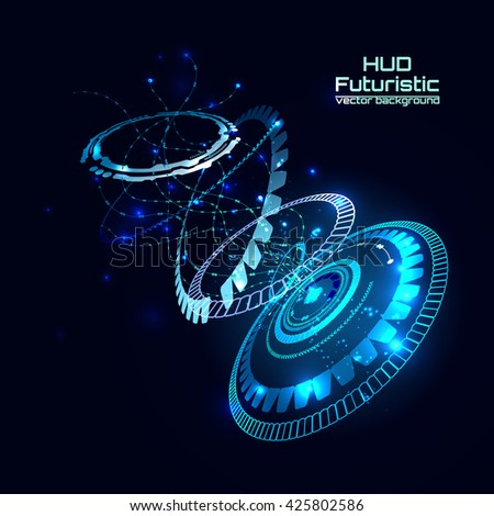 Futuristic interface, HUD,  sci-fi vector background for you technology design, web, card, brochure, template.  - stock vector