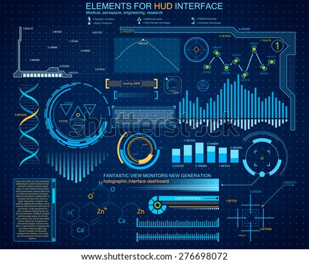 Futuristic interface, HUD, vector background.The latest technologies for structural arrangement. Modern holographic interface engineer, biologist, chemist. Research data and indicators - stock vector