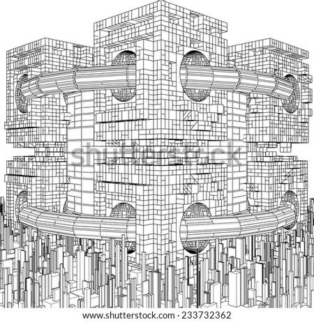 Futuristic Megalopolis City Structure Vector 298 - stock vector