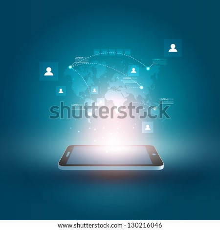 Futuristic Mobile Phone Vector Illustration with Holographic World Map and Social Media Icons | EPS10 Design - stock vector
