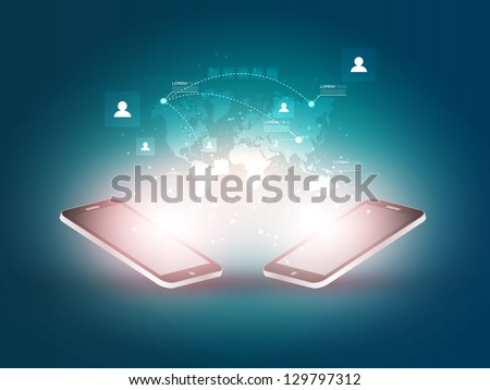 Futuristic Mobile Phones Vector Illustration with Holographic World Map and Social Media Icons | EPS10 Design - stock vector