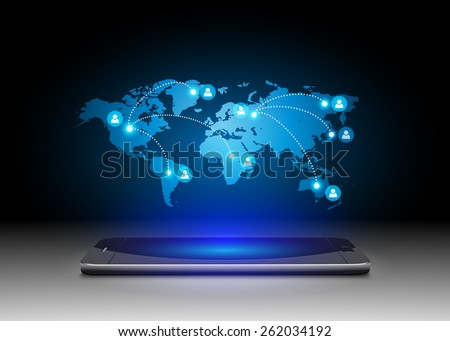 Futuristic Mobile Phones with Holographic World Map,vector - stock vector