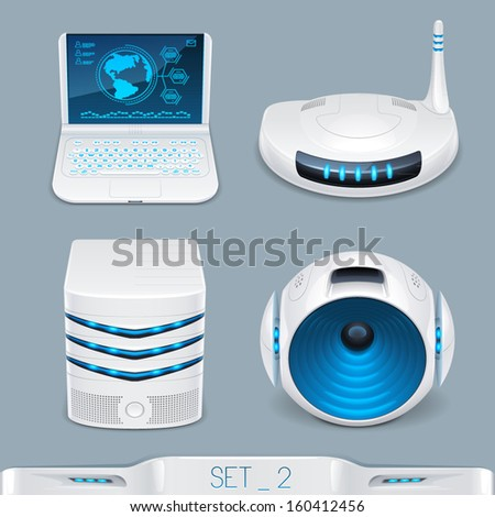 futuristic multimedia devices and technology icon-set 2 - stock vector