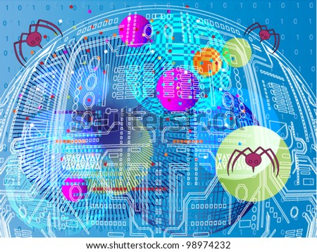 Futuristic  nanobots - stock vector