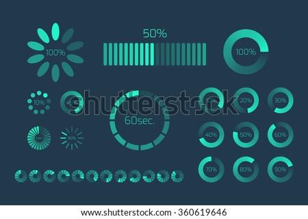 Futuristic Progress loading bar. Set of indicators. Download progress, web design template, interface upload. Vector illustration. - stock vector