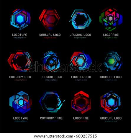 Futuristic Reactor Abstract Colorful Vector Logo Template Innovative Technologies Digital Design Effect Logos Set On