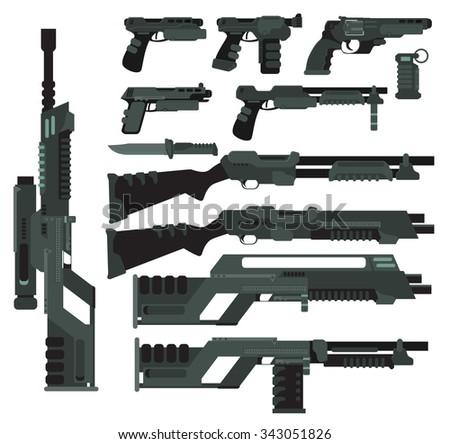 Futuristic Sci-Fi weapons - stock vector