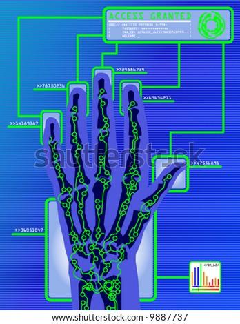 futuristic security concept illustration - stock vector