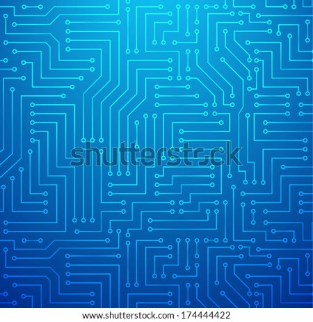 Futuristic Shining Light Blue Technology Background �¢?? Printed Circuit Board Seamless with Pattern in Swatches - stock vector