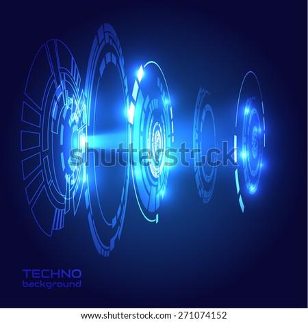 Futuristic shiny HUD scientific background. Vector eps10. - stock vector