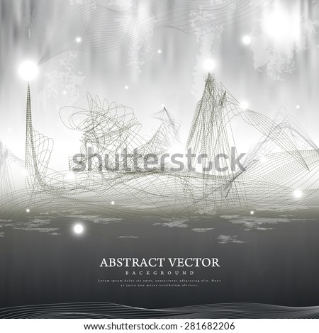 futuristic style streamline abstract backdrop in grey  - stock vector